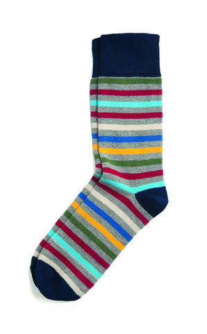PACT San Francisco All Over Stripe Crew Socks