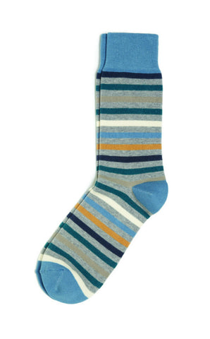 PACT All Over Blue Stripe Crew Socks