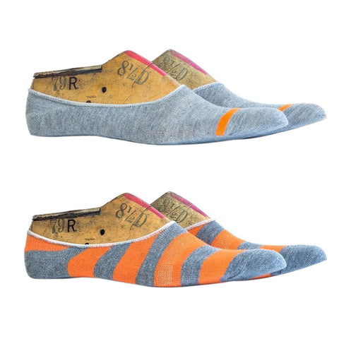 Richer Poorer No Show Socks 2 Pack - Grey & Orange