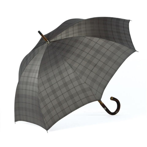 Ombrelli Handcrafted Umbrella with Wood Handle - Silver Plaid