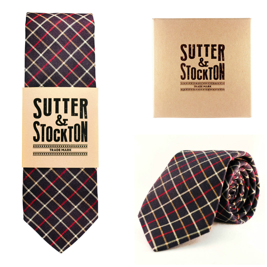 Sutter & Stockton Fulton Navy Plaid Tie