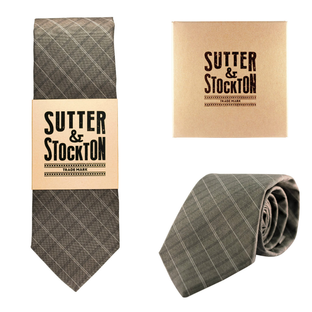 Sutter & Stockton Harrison Grey Plaid Tie