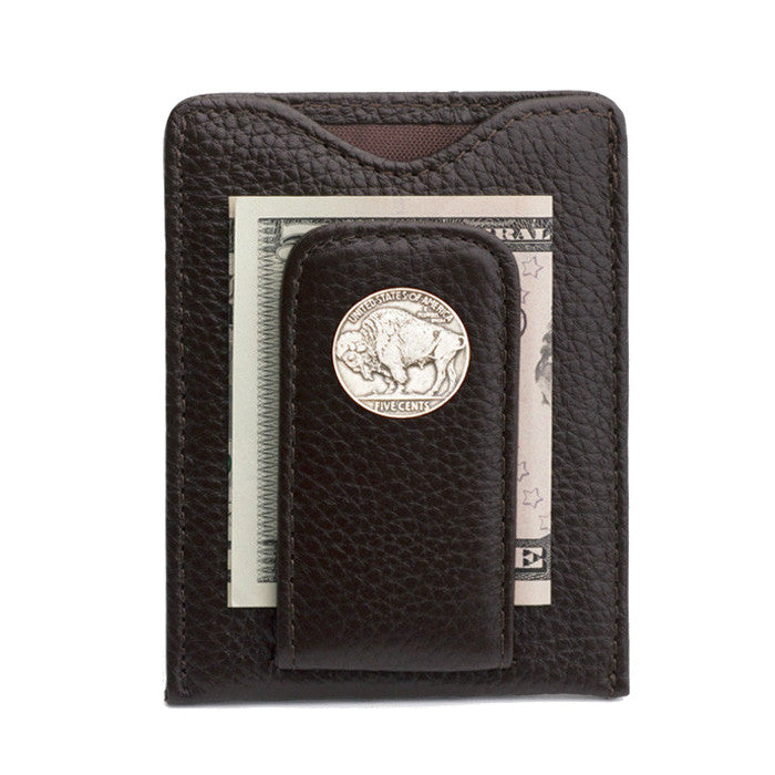 Tokens & Icons Buffalo Nickel Money Clip Wallet Brown