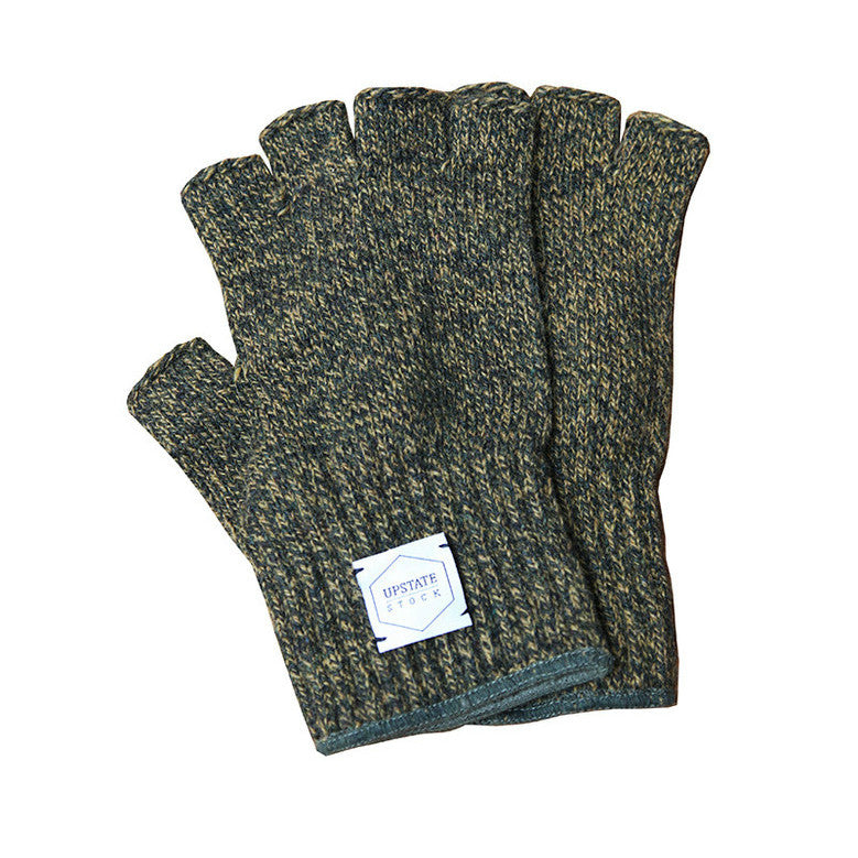 Upstate Stock Fingerless Ragg Wool Glove - Olive Melange