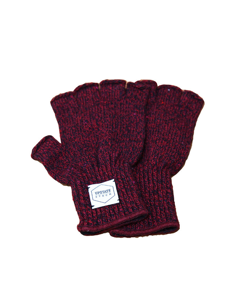Upstate Stock Fingerless Ragg Wool Glove - Red Melange