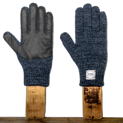 Upstate Stock Ragg Wool Glove with Black Deer - Black Melange
