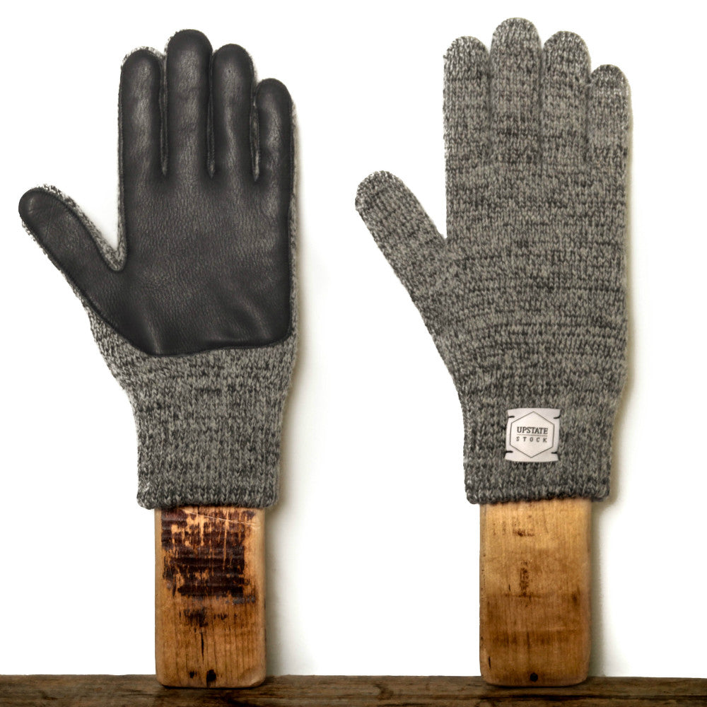 Upstate Stock Ragg Wool Glove with Deer - Charcoal Melange