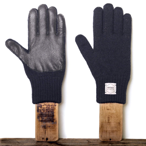 Upstate Stock Ragg Wool Glove with Black Deer - Navy Melange