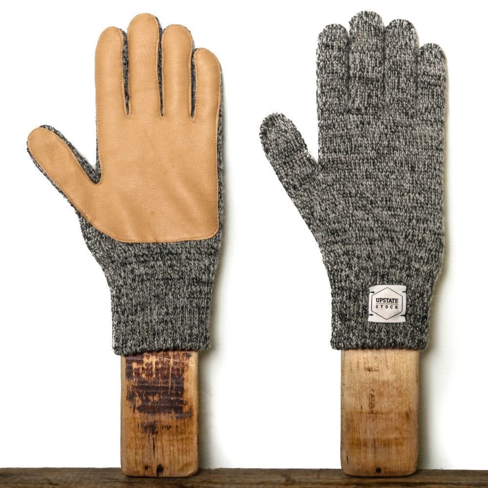 Upstate Stock Ragg Wool Glove with Natural Deer Charcoal Melange