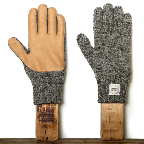 Upstate Stock Ragg Wool Glove with Natural Deer - Charcoal Melange