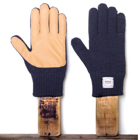 Upstate Stock Ragg Wool Glove with Natural Deer - Navy Melange