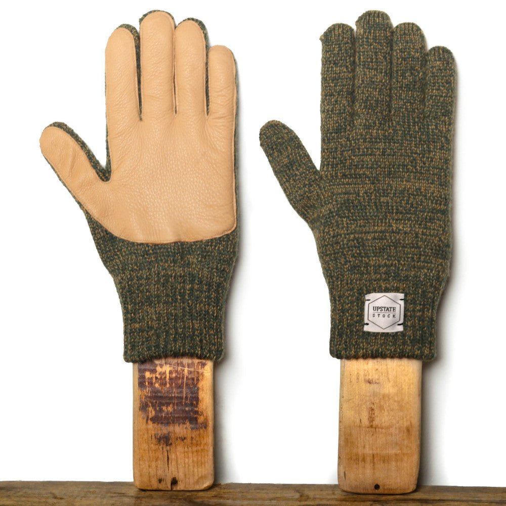 Upstate Stock Ragg Wool Glove with Natural Deer Olive Melange