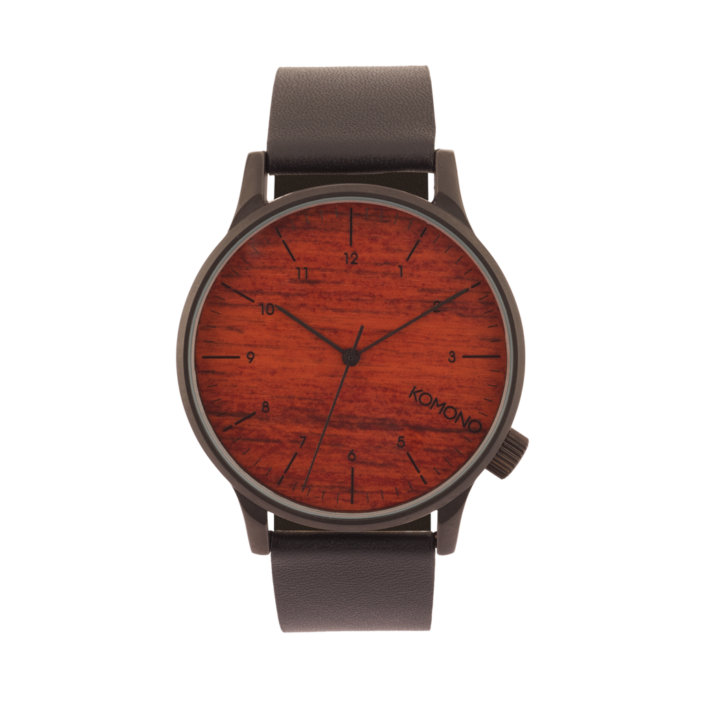 Komono Winston Black Wood Watch