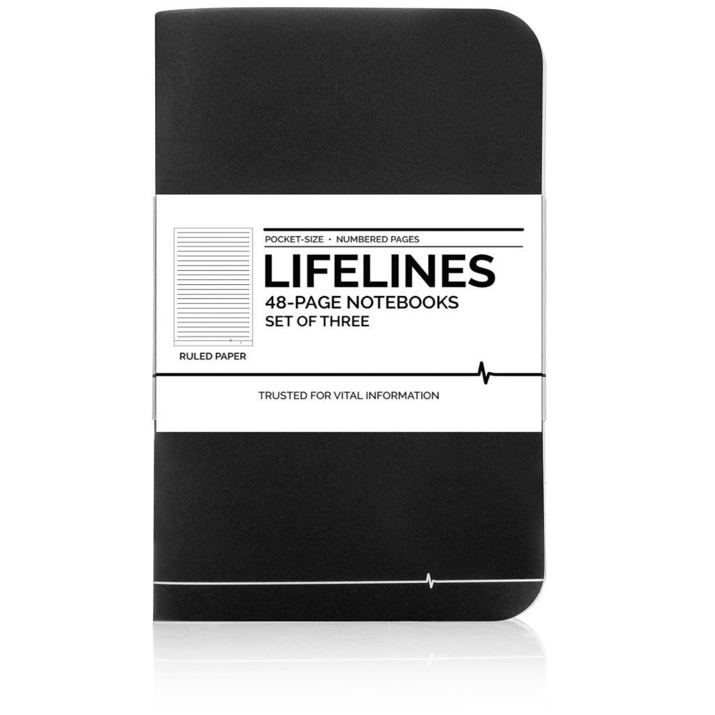 Lifelines Ruled Notebooks | Black, Pack of 3