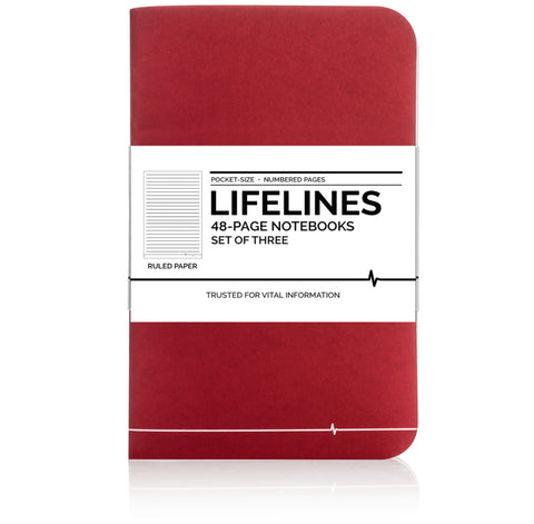 Lifelines Ruled Notebooks | Red, Pack of 3