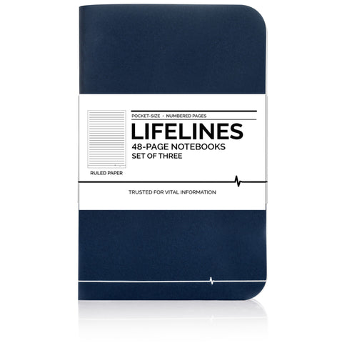 Lifelines Ruled Notebooks | Blue, Pack of 3