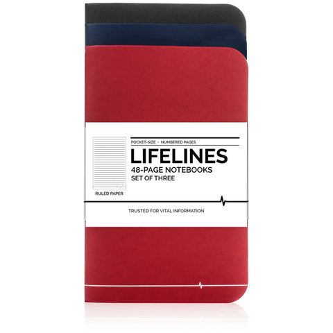 Lifelines Ruled Notebooks | Variety, Pack of 3