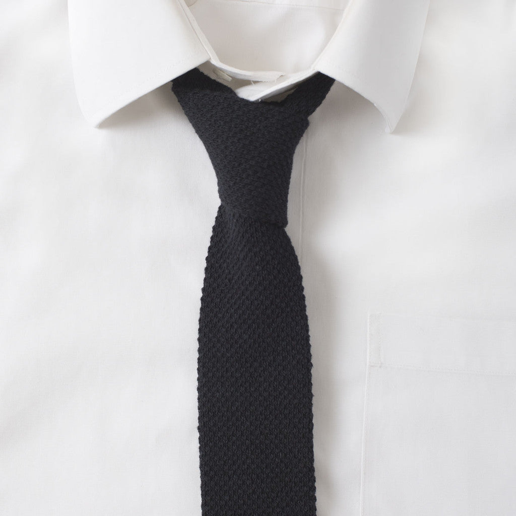 Knit Cotton Black Tie
