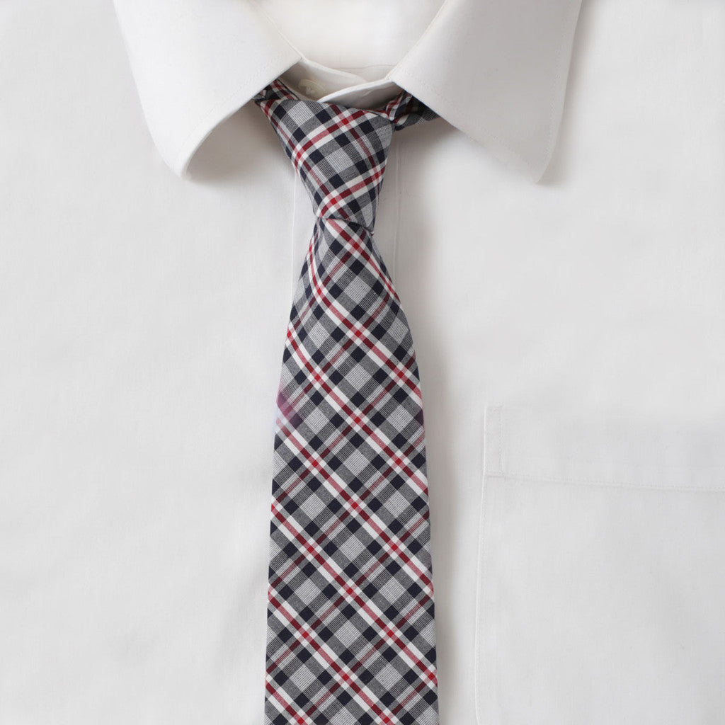 Cotton Gray & Red Plaid Tie