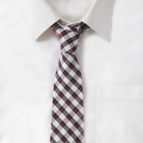 Cotton Purple & Green Plaid Tie
