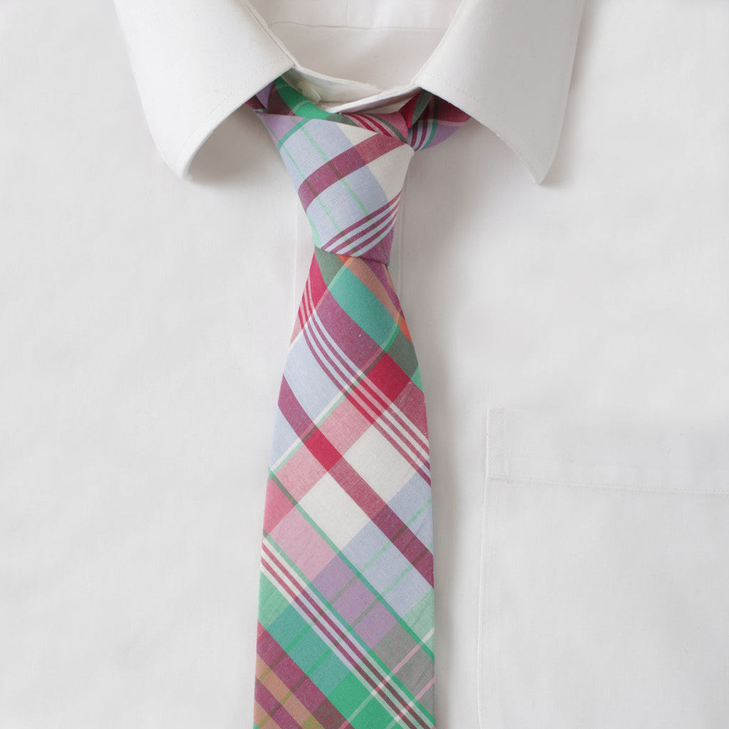 Cotton Red Madras Tie