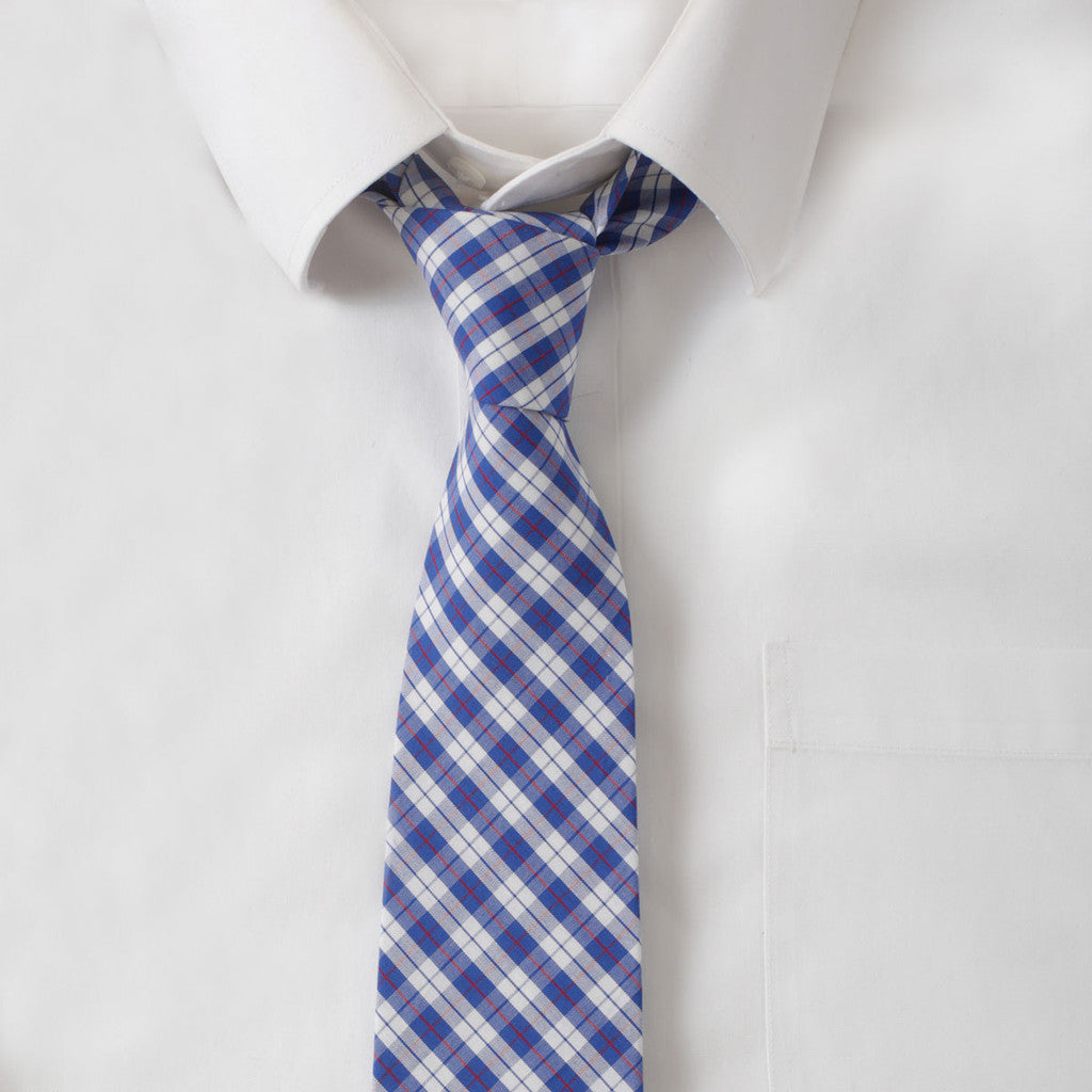 Cotton Blue & Red Plaid Tie