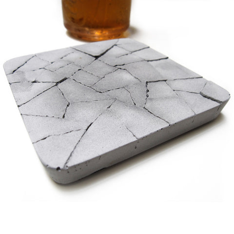 Concrete Water-Absorbent Coaster - Dry Land, Gray