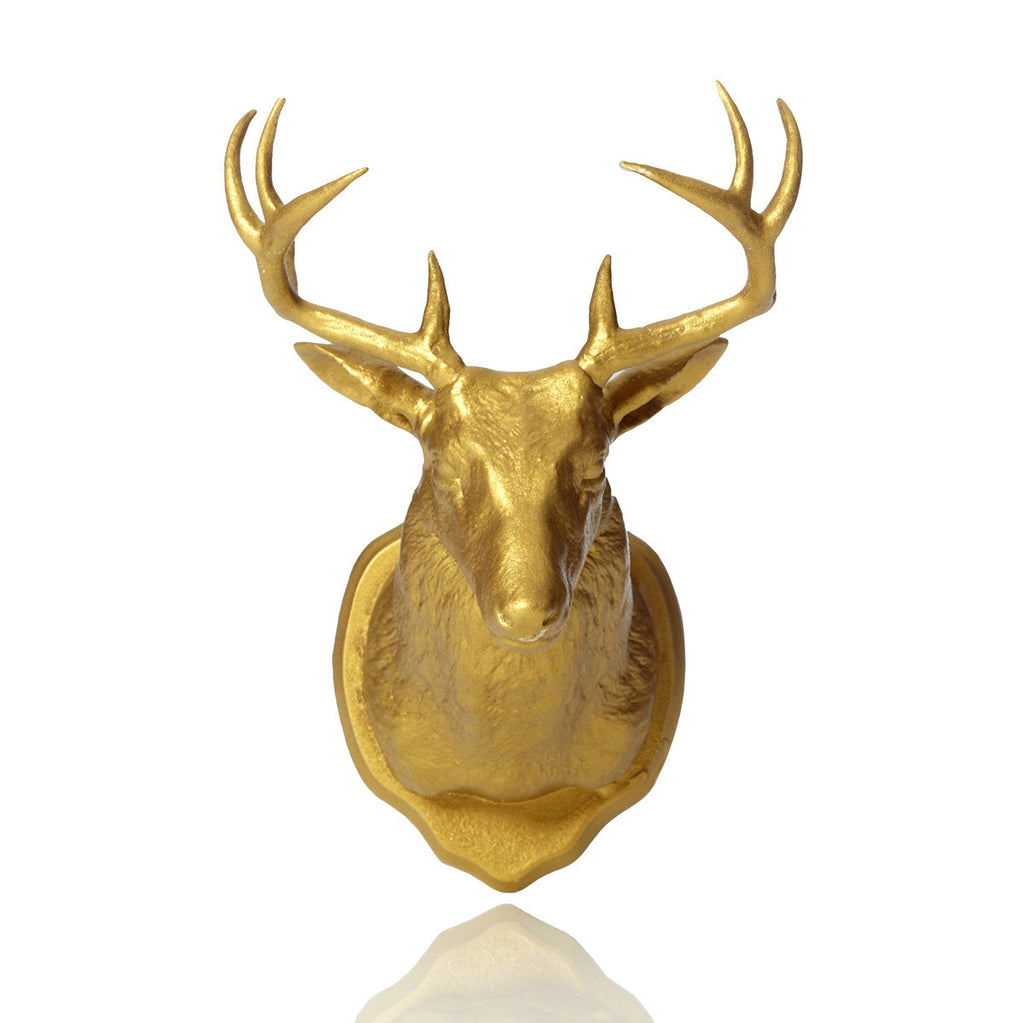 Fctry Urban Taxidermy Magnetic Wall Hook Deer Gold