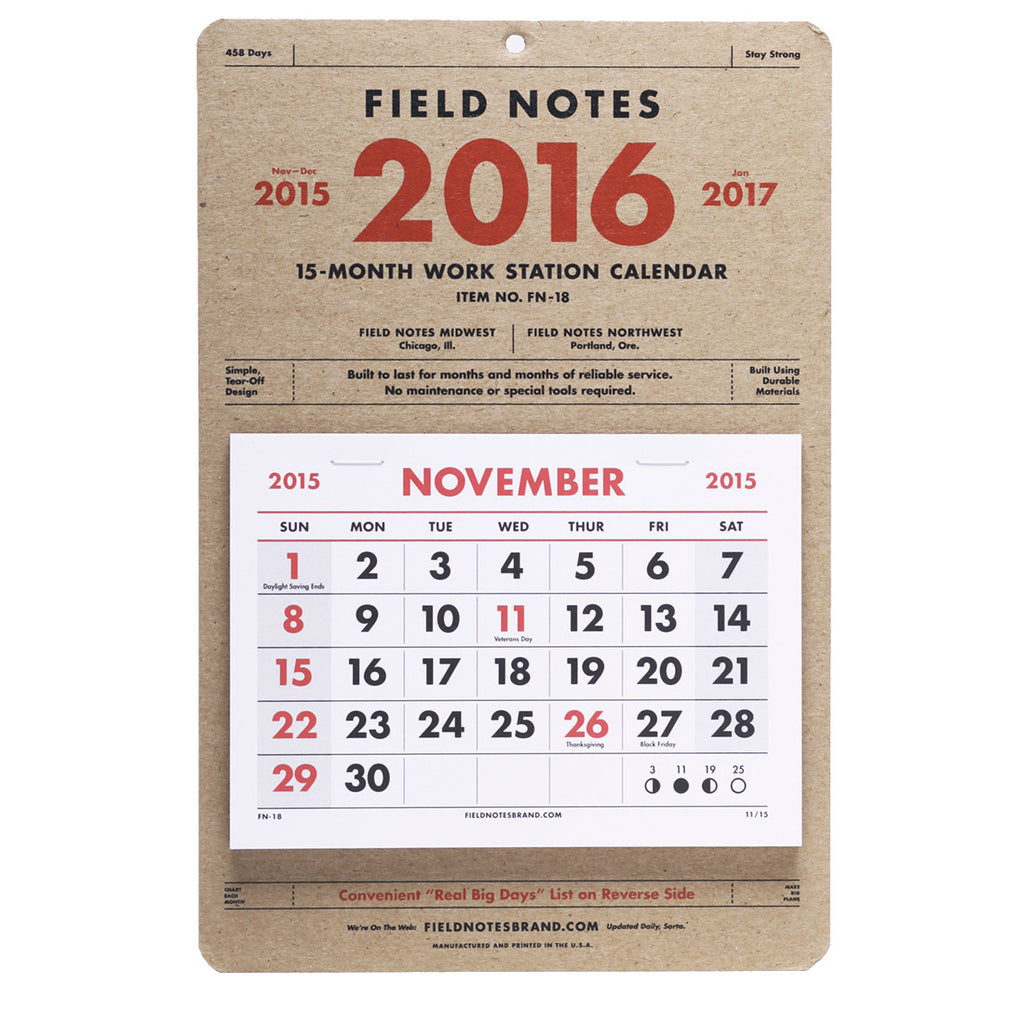 Field Notes 15-Month Work Station Calendar