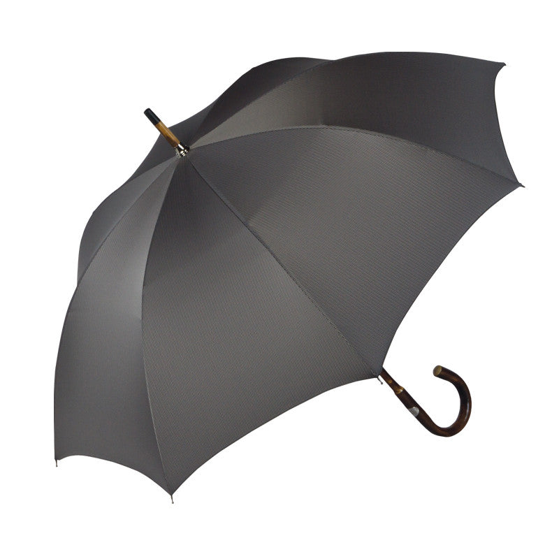 Ombrelli Handcrafted Umbrella with Wood Handle - Gray Herringbone