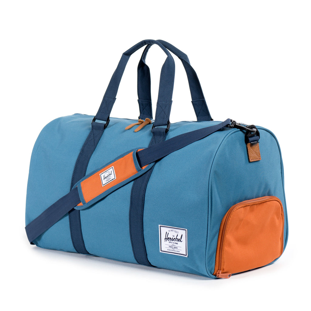 Herschel Supply Novel Duffel Bag - Cadet Blue, Carrot & Navy Side