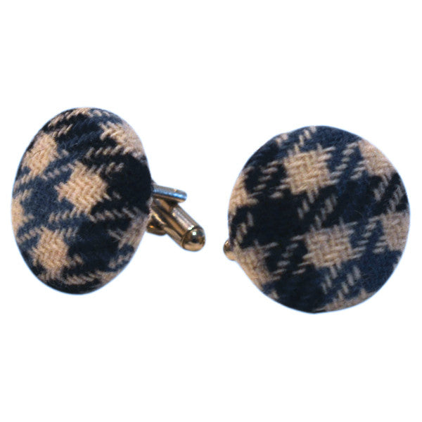 Houndstooth Fabric Cufflinks - Blue & White