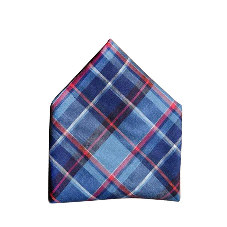 Blade + Blue Karl Plaid Pocket Square - Blue & Red