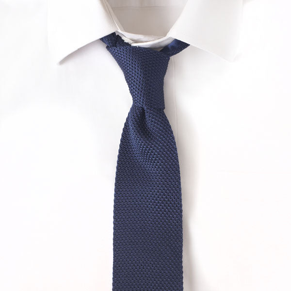 Knit Solid Navy Tie