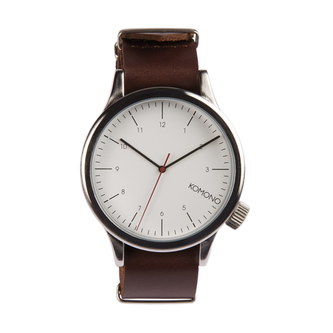 Komono Magnus Silver Burgundy Watch