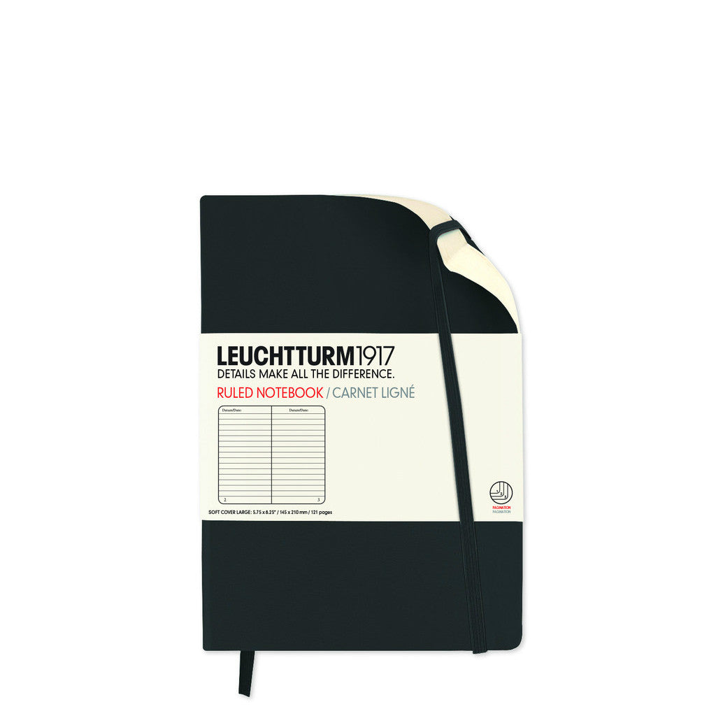 Leuchtturm 1917 Pocket Notebook Soft Black Ruled