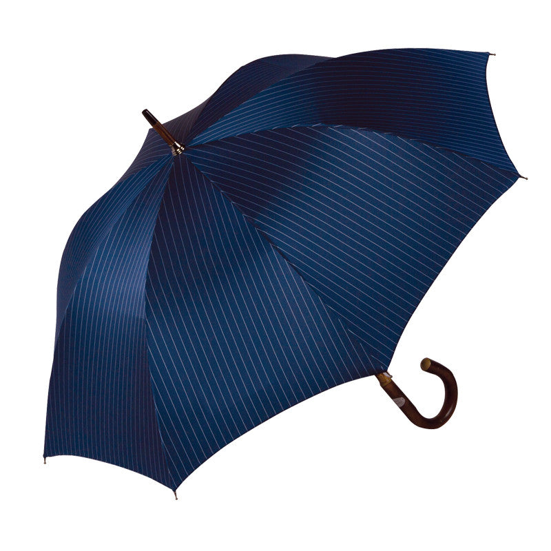 Ombrelli Handcrafted Umbrella with Wood Handle - Midnight Pin Stripe