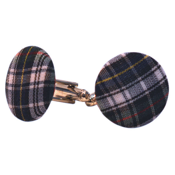 Plaid Fabric Cufflinks - Green & Blue