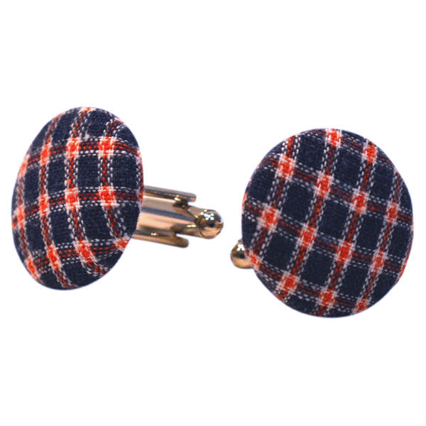 Plaid Fabric Cufflinks - Red & Blue