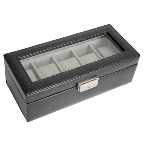 Royce Leather 5-Slot Watch Box - Black 2