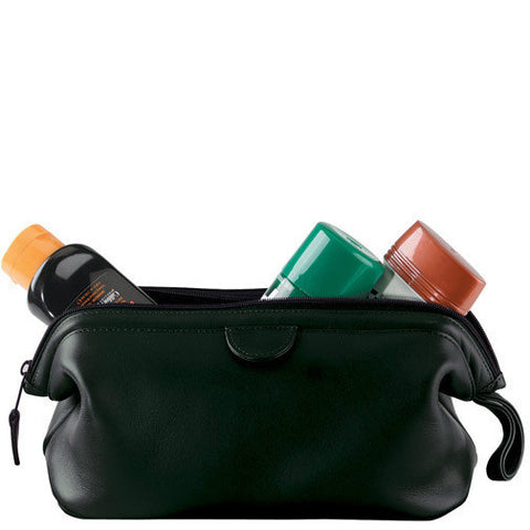 Genuine Leather Toiletry Bag - Black