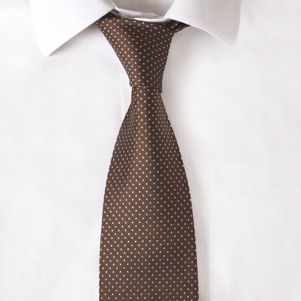 Silk Chocolate Pindot Tie