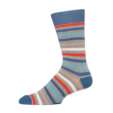PACT All Over Denim Stripe Crew Socks