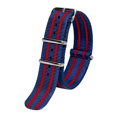 Sutter & Stockton - Military Watch Strap - Navy & Red Stripes