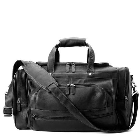 Deluxe Leather Duffel Bag - Black