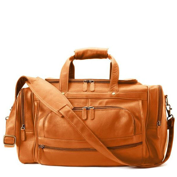 Deluxe Leather Duffel Bag - Tan
