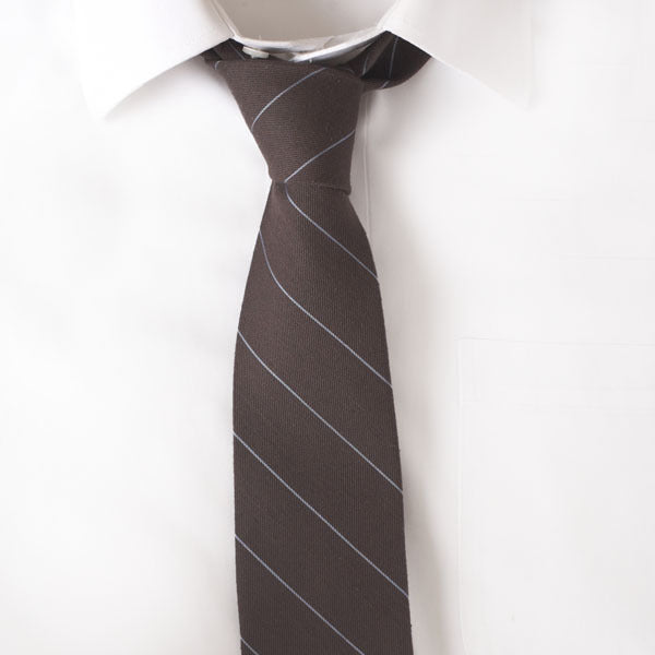 Wool Brown Stripe Tie