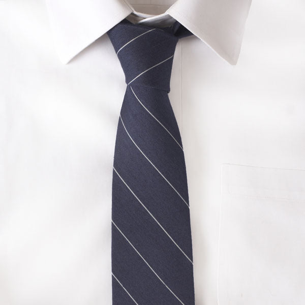 Wool Navy Stripe Tie