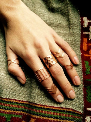 Copper geometric ring