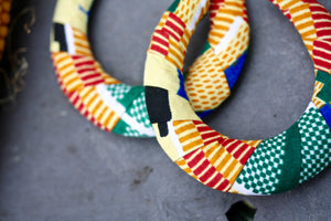 African Fabric Hoop Earrings